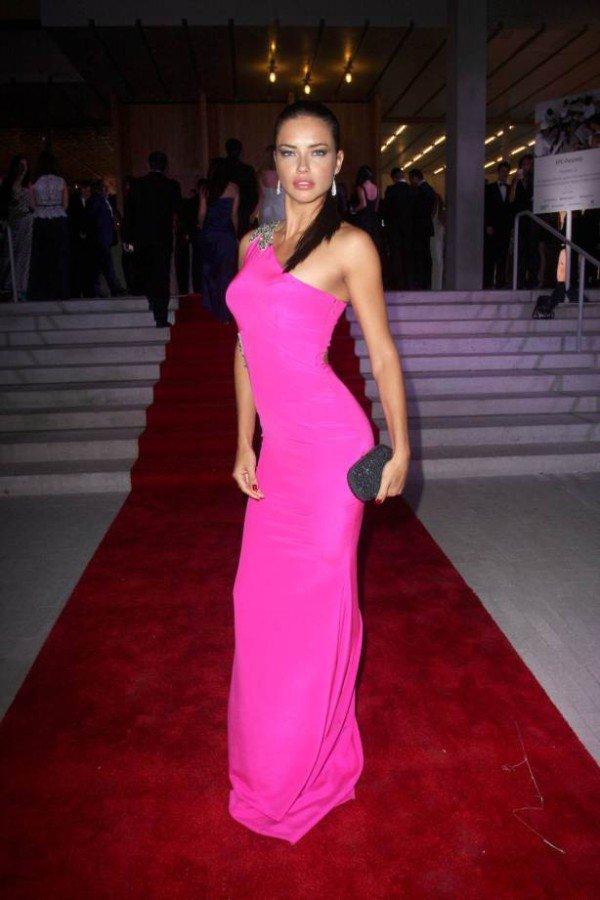 Adriana Lima Seductress In Pink At Charity Gala In Miami