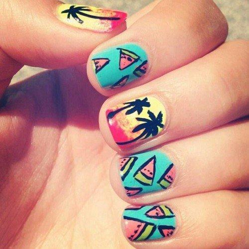 Creative Palm Tree Nail Designs
