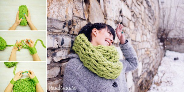 The Most Genius Way To Knit A Scarf For Less Than 30 minutes With Just Your Arms