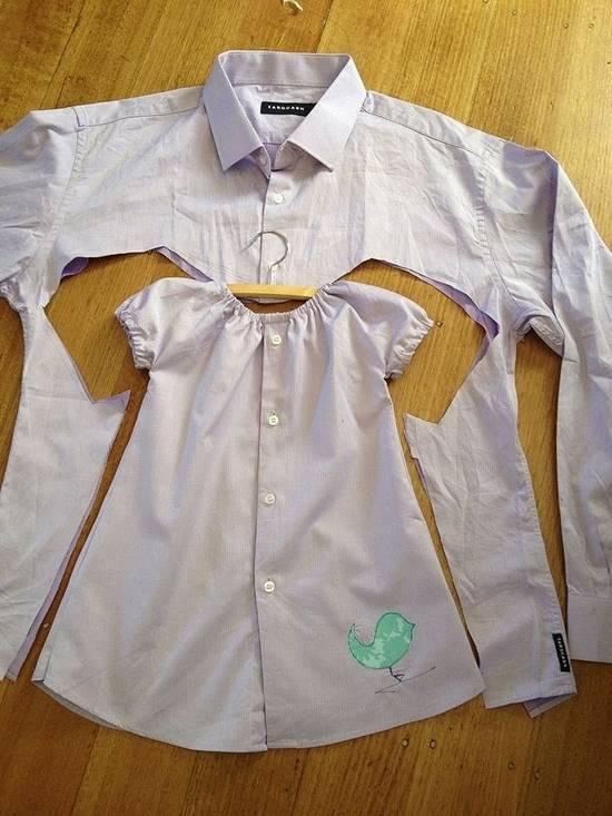 She Cuts Out A Dress Shape On A Mens Shirt And Creates An Amazing Cute Little Dress