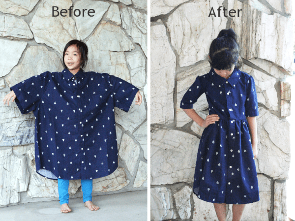 She Cuts Out A Dress Shape On A Mens Shirt And Creates An Amazing Cute Little Dress