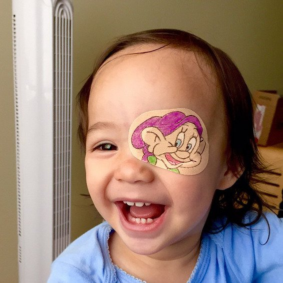 This Little Girl Has to Wear an Eyepatch! Her Dad Makes It Fun For Her On The Most Adorable Way