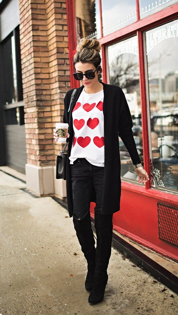 Heart Detailed Outfit,Ideal Outfit Fit The Valentine's Day