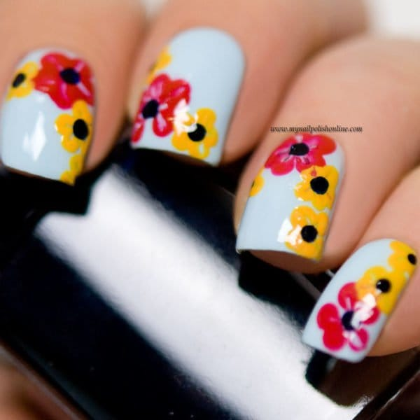 Colorful Nails With Floral Motives, Perfect For This Spring