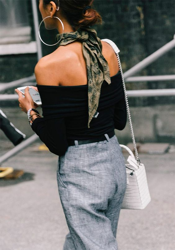 New Trend Alert: The Little Silk Neck Scarf As A Part Of Your Outfit This Season