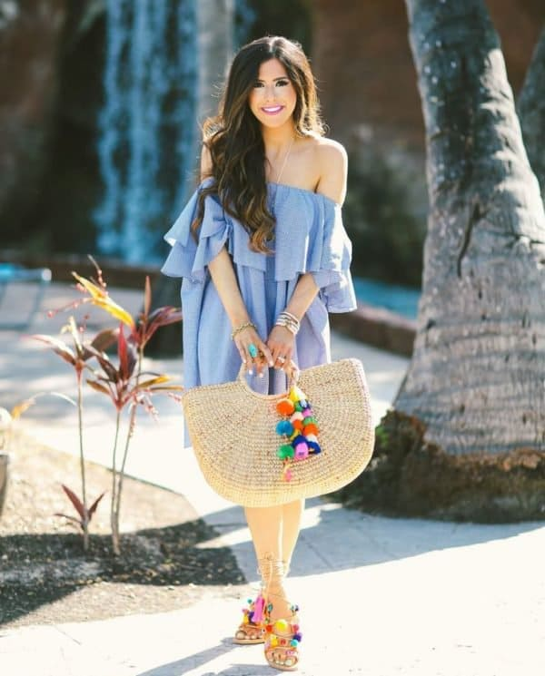 Pom Pom Sandals Outfits  For Colorful Summer