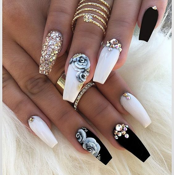 40 Classy Black Nail Art Designs For Hot Women: New Nails Art Fashion Trend: 3D Nails For Sophisticated