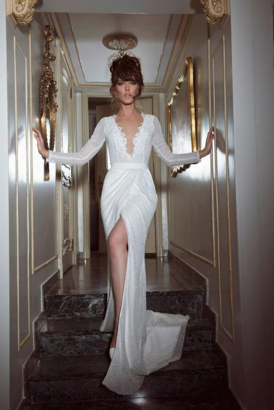 High slit wedding dress  the point where the fantasy coincides with reality