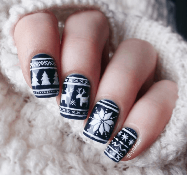 The Cutest Christmas Sweater Inspired Nails Art Designs To Feel The Magic Of The Holidays At Its Best
