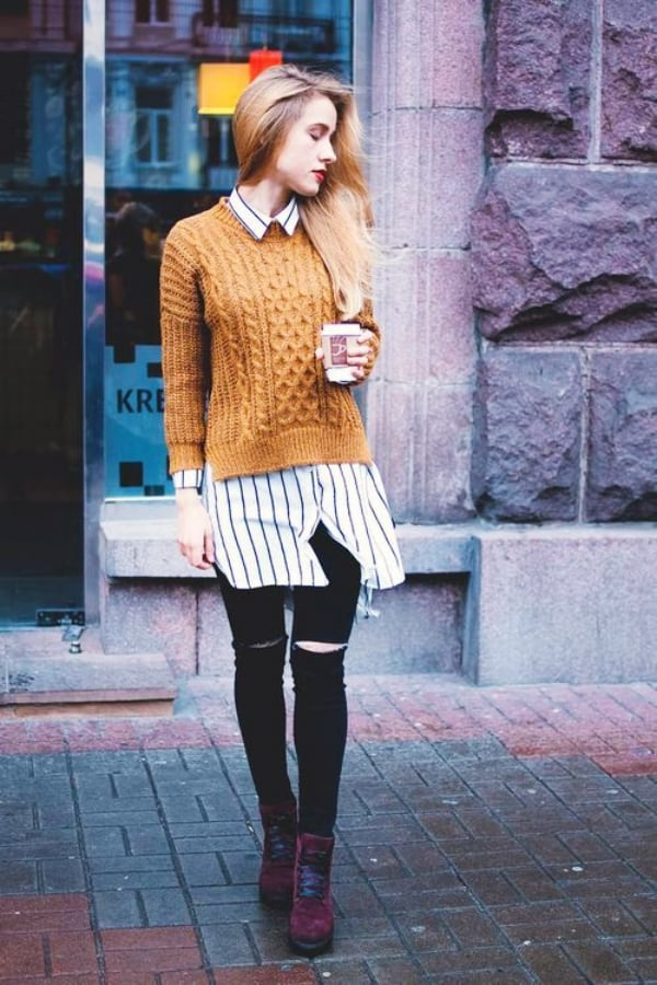 How To Combine Your Shirt And Sweater For The Sweater Weather