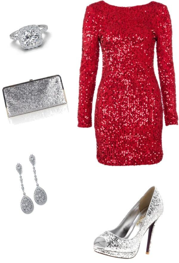 Fashionable Red Dress Combinations To Shine  On The New Years Eve