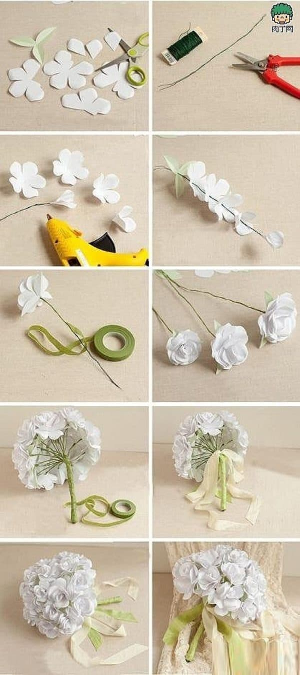 Step By Step DIY Paper Flowers Wedding Bouquets Tutorials To Follow Now