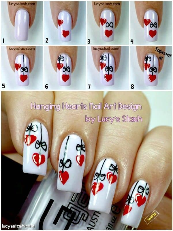 DIY Step By Step Valentines Nails Art Tutorials You Will Simply Adore
