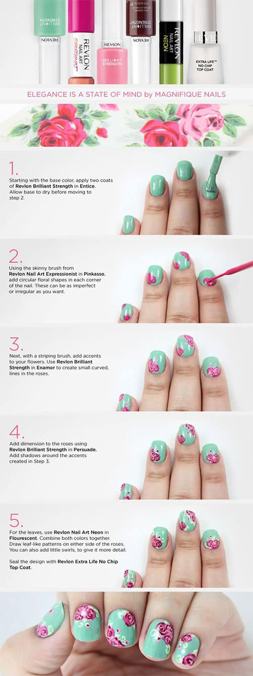 Easy DIY Floral Prints Nails Art Design Tutorials To Try This Spring