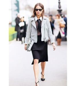 Inspiring Outfits Borrowed From Men Wardrobe: Motor Jacket Combinations For Feminine And Strong Look