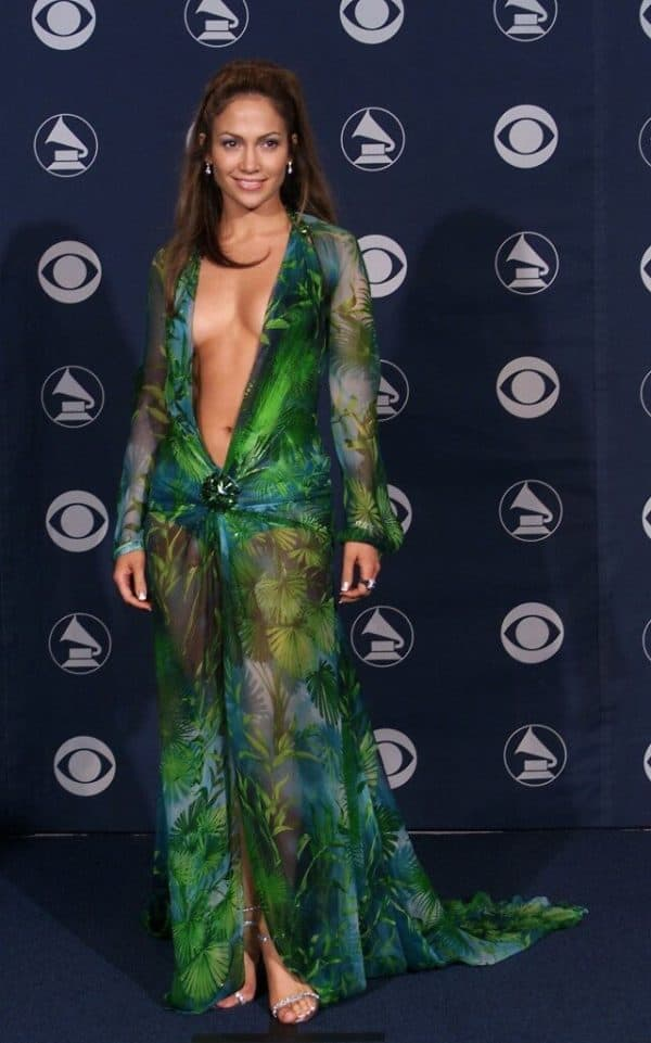 Jenifer Lopez In The Iconic Green Dress By Versace 20 Years Before And After