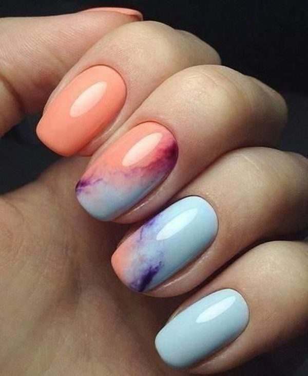 Sweet Watercolor Nails Ideas That Will Give A Fresh Look To Your Mani